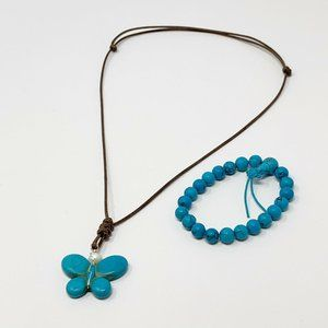 Faux Turquoise Butterfly Necklace Blue Corded
